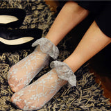 Lace Flower Ruffle Glass Silk Women Short Socks - chicstocking