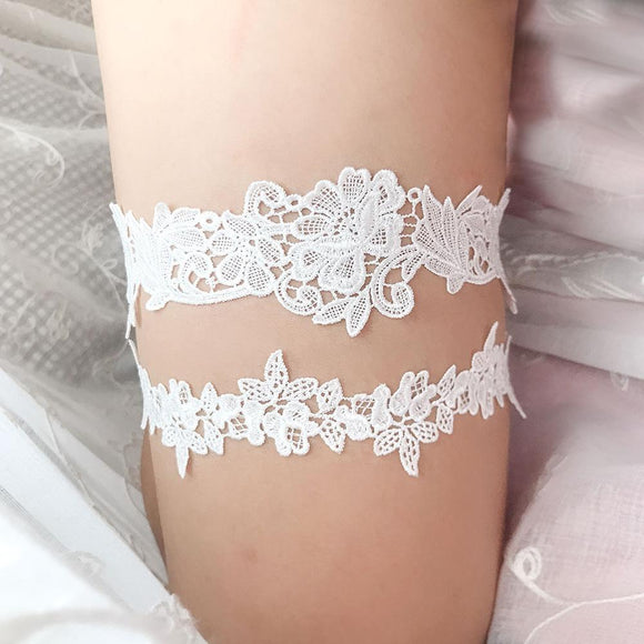 2pcs Set Wedding Garters Lace Embroidery Floral Sexy Garters for Women/Bride Thigh Ring Bridal Leg Garter - chicstocking