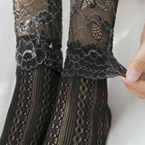 Retro Lace Flower Hollow Mesh Elastic Women Short Socks - chicstocking