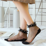 Summer Lace Ruffle Pearl Breathable Glass Silk Short Socks - chicstocking