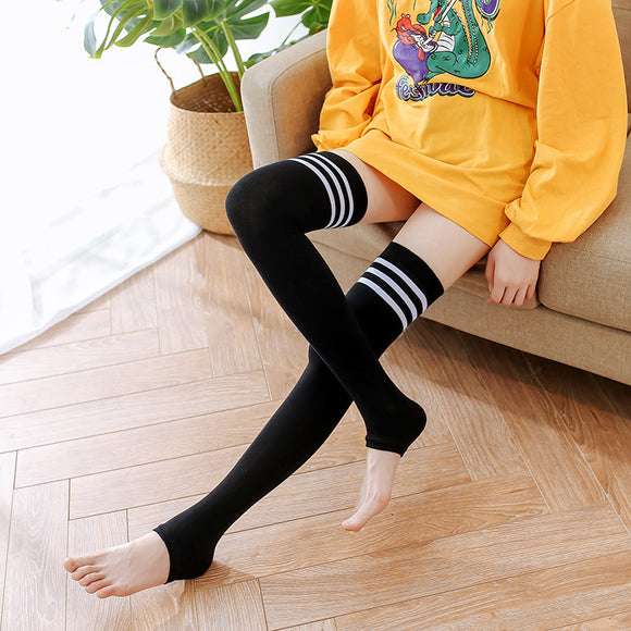 Winter Leg Warmer Solid Color Stripe Thigh High Stockings