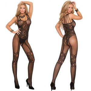 Sexy Lingerie Much-loved Floral Open Crotch Mesh Body Stockings Pantyhose - chicstocking