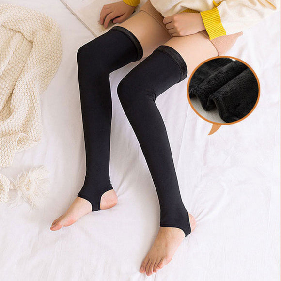 Winter Warm Solid Color Fuzzy Thigh High Open Toe Stockings - chicstocking