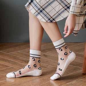 Summer Ultra Thin Leopard Lace Mesh Loose Socks