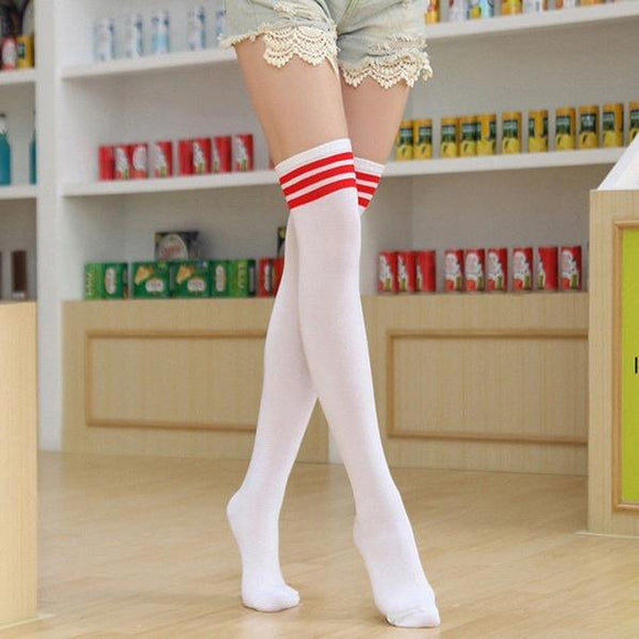Men Women's Sport football Soccer Stripe Over Knee High Stockings Baseball - chicstocking