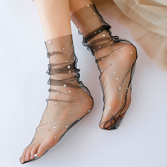 Glitter Starry Star Moon Fishnet Ruffle Gauze Women Socks