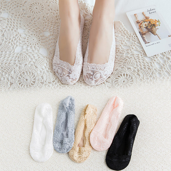Lace Flower Women Cotton No Show Ankle Invisible Socks - chicstocking
