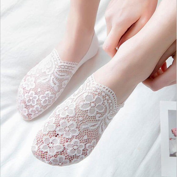 Lace Flower Women Nylon No Show Ankle Invisible Socks - chicstocking