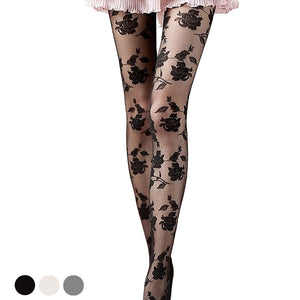 Lolita Sexy Flower Print Breathable Women Thigh High Stockings Pantyhose - chicstocking