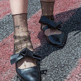 Glitter Gold Line Transparent Gauze Women Socks - chicstocking