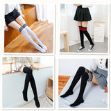 Solid Color Warm Cotton Three Stripe Women Thigh High Stockings