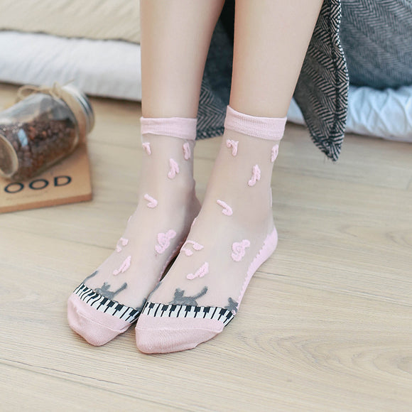 Piano Pattern Glass Silk Socks - chicstocking