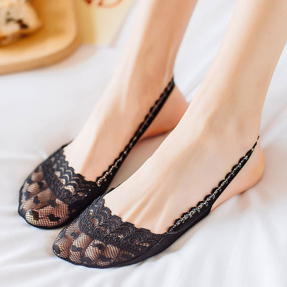 Summer Lace Half Feet Sling No Show Ankle Invisible Socks - chicstocking