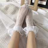 Lolita Lace Flower Ruffle Summer Breathable Elastic Casual Girls Short Socks - chicstocking