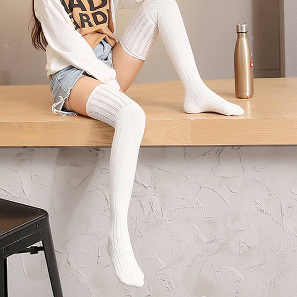 Solid Color Hollow Out Breathable Warm Women Thigh High Stockings