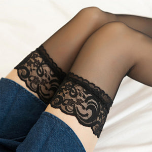 Sexy Lace Flower Solid Color Over Knee High Stockings - chicstocking
