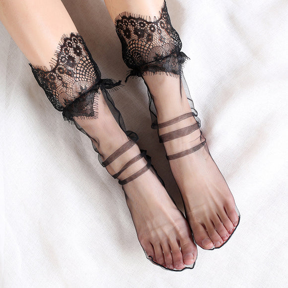 Lace Flower Ruffle Ultra Thin Mesh Fairy Transparent Gauze Loose Socks - chicstocking