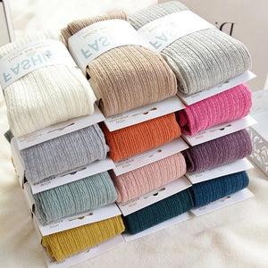 Winter Warm Candy Color Twist Striped Knitted Cotton Stockings Pantyhose
