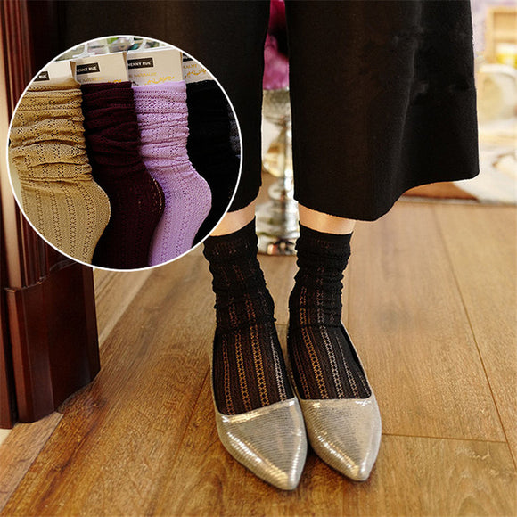 Solid Color Lace Retro Hollow Mesh Stripe Slouch Socks - chicstocking