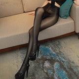 Sexy Crotchless Shinny Elasticity Women Thigh High Stockings Pantyhose - chicstocking