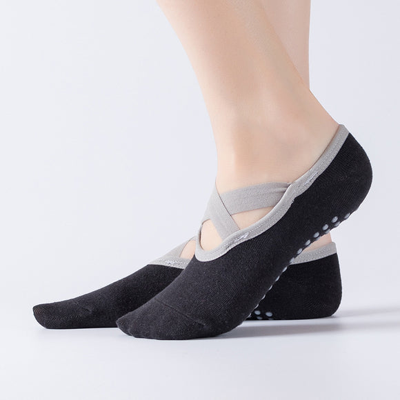 Yoga Ballet Sport Cross Belt Cotton Boat Socks - chicstocking
