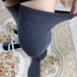 Solid Color Thigh High Thick Long Stockings - chicstocking