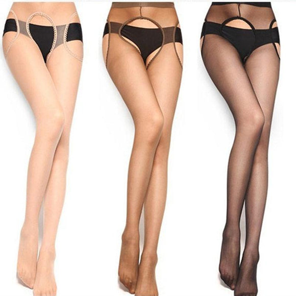 Sexy Open Crotch Erotic Pantyhose Tights Hot Sheer Thigh High Stockings Black Lace Top Garter - chicstocking