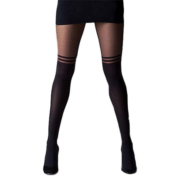 Striped Opaque Hosiery Skinny Thigh High Black Stockings Pantyhoses - chicstocking