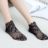 Women Lace Flower Hollow Fishnet Bottom Silicone Anti-Slip Short Socks - chicstocking