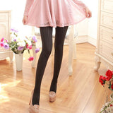 Velvet Solid Color Ear of Wheat Pattern Stockings Pantyhose - chicstocking
