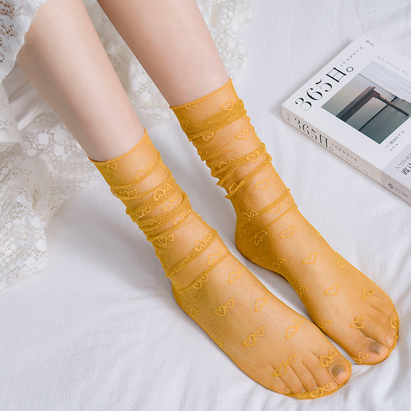 Summer Ultra Thin Love Heart Mesh Transparent Ruffle Slouch Socks - chicstocking