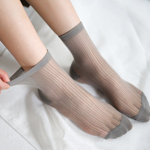 Vertical Stripes Ultra Thin Lace Mesh Loose Socks