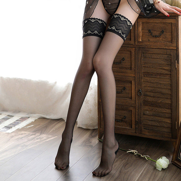Retro Elastic Vertical Line Pattern Lace Flower Sexy Lingerie Stockings - chicstocking