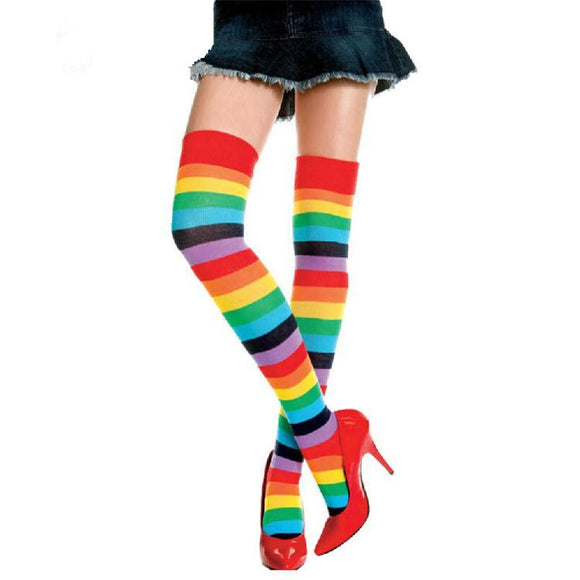 Cute Cotton Thigh High Mixed Colored Rainbow Striped Long Stockings - chicstocking