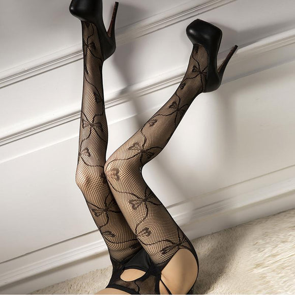 Black Lace Print Hollow Out Sexy Pantyhose Female Mesh Stockings Open Crotch Women Fishnet Tights Stockings - chicstocking