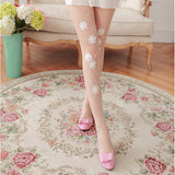 Handmade Flower Pearl Breathable Women Thigh High Silk Stockings Pantyhose - chicstocking