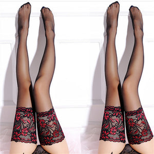 Sexy Lace Flower Back Tie Thigh High Stockings - chicstocking