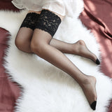 Sexy Lace Flower Ultra Thin Transparent Thigh High Stockings - chicstocking