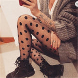 Polka Dot White Black Tights Stockings Pantyhose - chicstocking