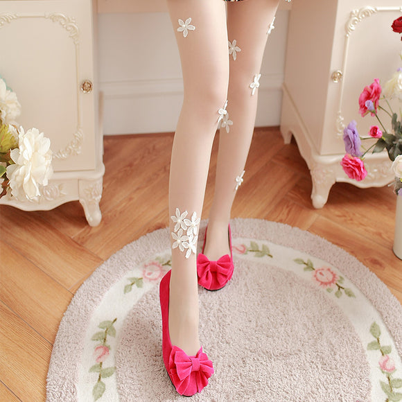 Sexy Diamond Flower Breathable Women Thigh High Stockings Pantyhose - chicstocking