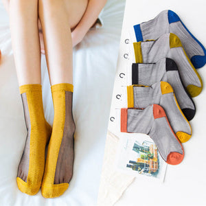 Patchwork Half Cotton Half Gauze Breathable Silk Short Socks - chicstocking