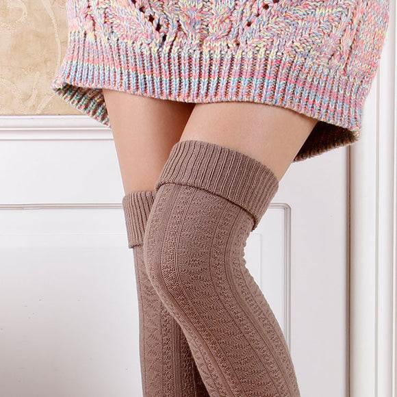 Retro Winter Warm Knitting Solid Color Thigh High Stockings