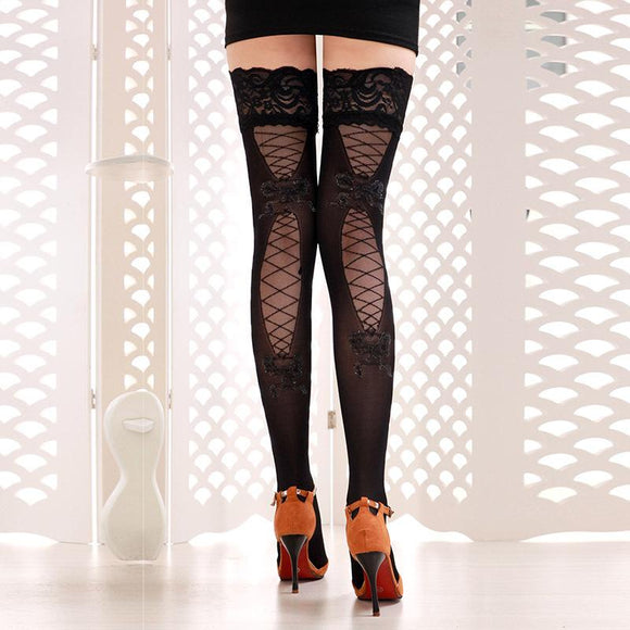 Lace Top Sheer Thigh High Silk Stockings Solid Nylon Fishnet Mesh Pantyhose - chicstocking