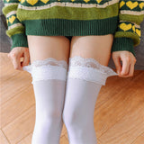 Lace Button Solid Color Thigh High Stocking - chicstocking