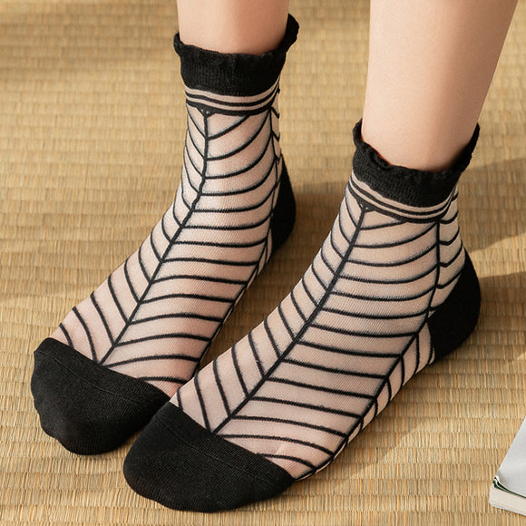 Summer Leaf Transparent Glass Silk Short Socks - chicstocking