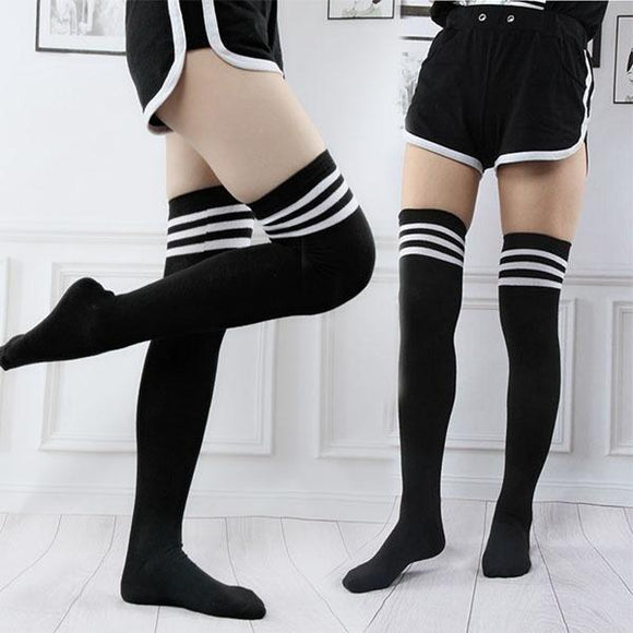 Women Over Knee Thigh High Cotton Hose Stockings - chicstocking