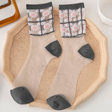 Summer Ultra Thin Daisy Flower Transparent Mesh Glass Silk Socks - chicstocking
