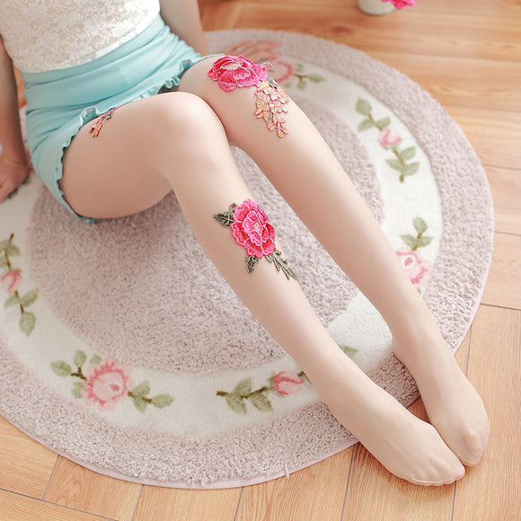 Handmade Diamond Rose Flower Lace Breathable Women Thigh High Stockings Pantyhose - chicstocking