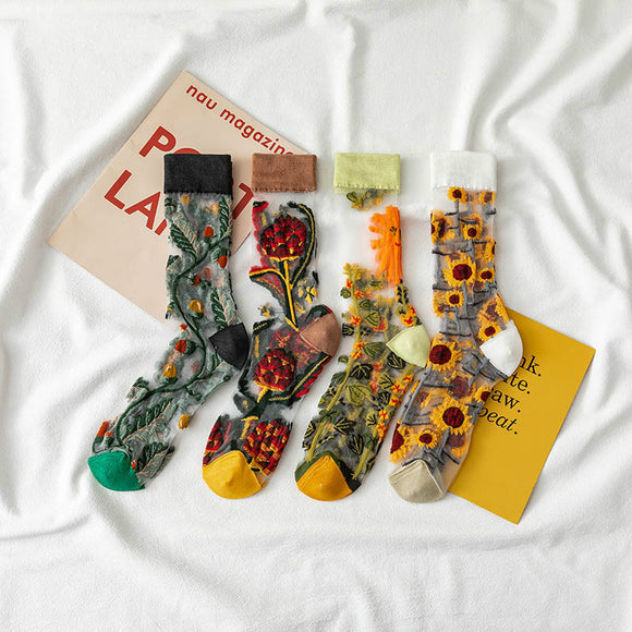 Creative Crystal Silk Sunflowers Socks
