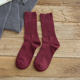 Loose Solid Colors Double Needles Knitting Cotton Long Socks